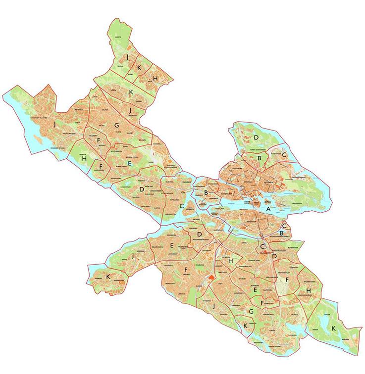 Kartan visar nedan listade lägesindelning i Stockholm